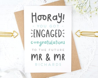 Personalised Mr & Mr Engagement card - Engaged - Engagement Gift - Congratulations card - You're engaged!