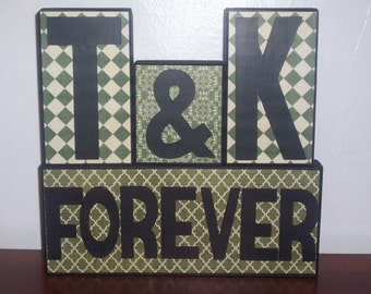 Customize: Couple Initials Block Letters, Custom Couple Blocks, Couple Forever Decoration
