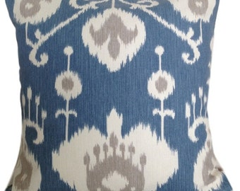 Java Ikat Yacht Blue Throw Pillow Covers Removeable Cover Contemporary Modern