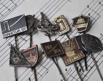 Set of 10 Vintage metal badges,pins. USSR era.