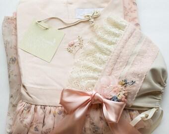 Baby Bonnet - Ivory Newborn Photo Prop - Vintage Inspired Prop - Baby Hat - Newborn Bonnet - Well Dressed Wolf