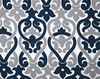 Two 20 x 20   Decorative Pillow Covers - Indoor/Outdoor - Damask- Grey/Navy Blue