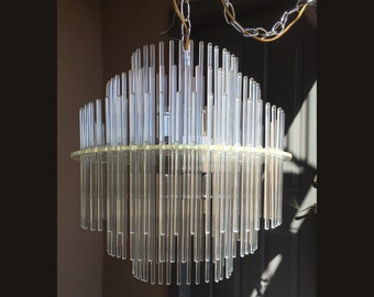 Sciolari lucite chandelier glass rod swizzle stick Hollywood Regerncy handing pendant light Lightolier 1970s Gaetano Sciolari mid century