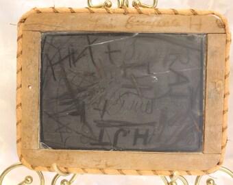 Antique Primitive Slate Board - Chalkboard Slate - Chalk Board 1900s Child's School Slate Black Board