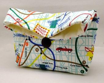 Foldover clutch, Fold over bag, clutch purse, evening clutch, wedding purse, bridesmaid gifts - City map (Ref. FC69 )