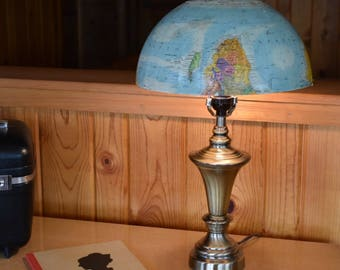 Vintage Globe Lamp Shade on Brushed Bronze Lamp Accent Lamp Desk Lamp Table Lamp