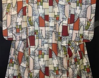 Fabulous Vintage Midcentury Modernist Meisen Silk Japanese Kimono - Off White w/ Black / Burnt Orange / Gray / Olive / Pink.