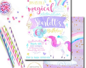 Unicorn Invitation, Printable Unicorn invitation, Rainbow Birthday, Unicorn invite, Unicorn Birthday