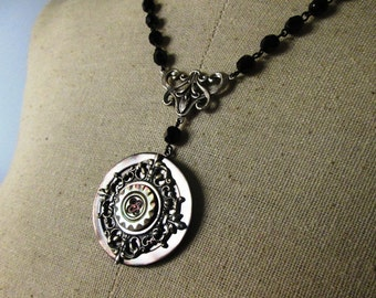 LONG LAYERING Vintage Rosary and Button Necklace Jewelry: Smoky Pearl Sensation