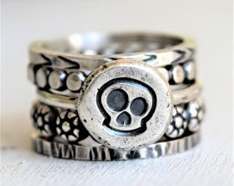 Sterling Silver Skull Ring Stack - Boho Ring Stack - Metalwork Rings - Gift For Her - Stackers