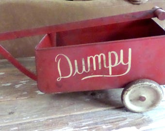 Vintage Red Metal DUMPY Wagon Pull Toy Taylor Graves Co Long Handle 1920s Antique