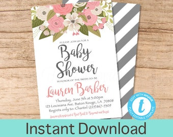 Baby Shower Invitation, Floral Baby Shower invitation, Pink Floral Baby girl Invitation, Instant Download