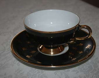 Vintage RKW Bavaria Fine Bone China Made in Germany  Cup and Saucer White Black Gold