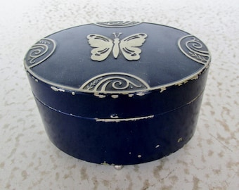 Hinged Box with Powder Antique Enameled Tin Face Powder Lucretia Vanderbilt Art Deco Blue Butterfly