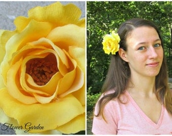 Yellow rose hair flower clip