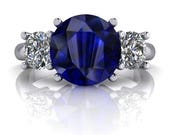 ON SALE! Sapphire Ring - Three Stone Ring - Forever One Moissanite Three Stone Ring 3 CTW