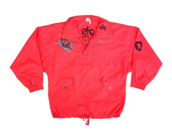 Wicked 80s Neon Salmon Euro Freestyle Ski Jacket - L