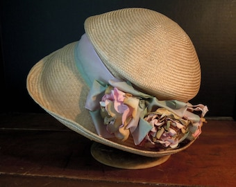 Vintage Edwardian Style Golden Straw Hat / Organza Ribbon / Paper Silk Flowers / Brimmed Straw Hat
