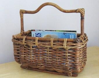 Vintage magazine holder rack basket - wicker magazine basket holder rack with handle - rattan magazine rack stand organizer holder