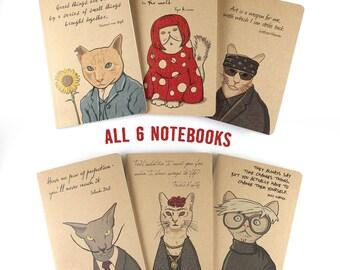 Cat Notebooks, 6 Sophisticats Notebooks, Artist Notebooks