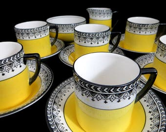 Art Deco Full Coffee Set, 1930s Black & Yellow 15 piece Demitasse Cup and Saucer Set Pearl Pattern Kirkland Pottery UK