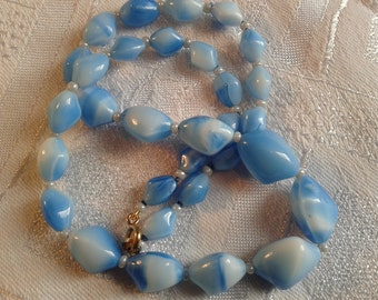 Vintage 50s Blue Murano, Givre Glass Bead Necklace.