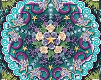 Mermaid Mandala, mermaid art, ocean art, fantasy art, under the sea artwork, seashell art, mermaid pattern, ocean kaleidoscope, sea creature
