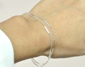 Two chains delicate silver Bracelet, Two chains, Thin and feminine, Minimum Jewelry, Delicate silver Chain Bracelet, everyday jewelry