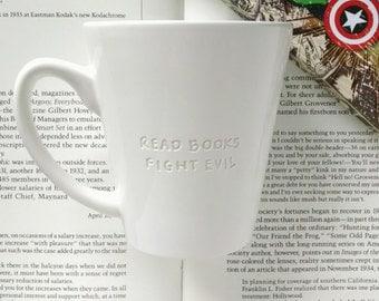 Read Books Fight Evil Engraved Mug, Unique Mug, Funny Mug, Book Lover Mug, Comic Book Mug, Minimalist Mug, Quote Mug