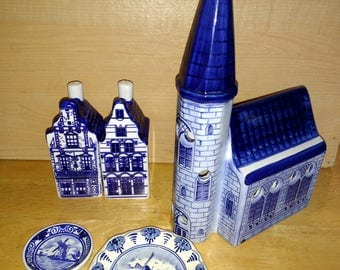 Lot Delft Holland Signed Blue and White Items Old Dutch Church Salt and Pepper Houses Plates