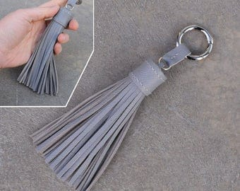 LARGE Type -Gray Unique and Chic Hand Stitched Cowhide Leather TASSEL Key Chain or Bag Charm-(Pls choose Key Ring color)