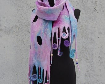 """Cloud number 9"""", woolen wet felted scarf with beads, one-of-a-kind unique hand felted wool garment"""