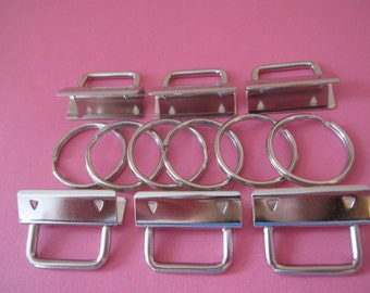 1.25 Inch Nickel Rectangular Top Key Fob Hardware- Set of 6 - Use To Make Key Fobs And Wristlets