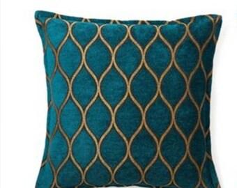decorative pillows, pillow covers, accent pillows, couch pillows, soft pillow, trellis pillow cover, chair pillows, teal gold pillow, velvet