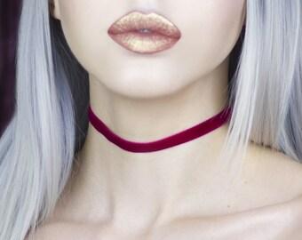 Claret Red Velvet Thin Choker - Necklace - Christmas