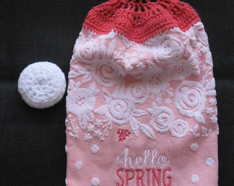 Hello Spring Handmade Hanging Kitchen Towel and White Dish Scrubby, Scrubber, Kitchen Gift Set