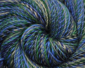 Hand spun yarn - Hand painted Blue Faced Leicester (BFL) wool, DK weight, 305 yards - Island Nation