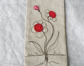 Pink Roses Posies Banner Thread Sketching Whimsical Wall Hanging  Machine Scribble Embroidery Appliqued Flag OOAK Primitive Wall Art