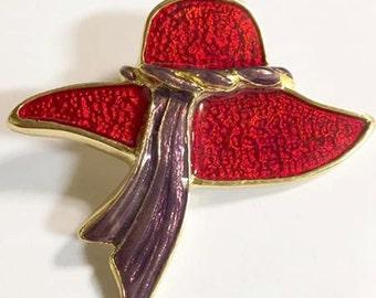 Vintage Red Hat Society Wide Brim Hat Clip