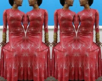 Vintage 1970s Diane Von Furstenberg Red Fireworks Print Cotton Body Con Maxi Dress Size Small Swing Flutter