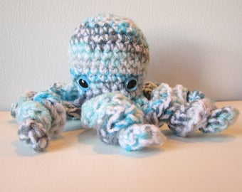 Winter the Octopus : handmade crochet stuffed teal white and gray toy