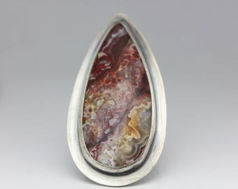 Noriega Lace Agate Ring, Agate & Sterling Ring, Boho Ring, Le Chien Noir, Size 7