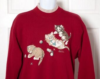 Vintage 80s 90s Playing Kitten Sweatshirt - MORNING SUN - L