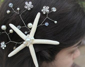Starfish Hair Clip, Set of Bridesmaids Hairpieces, Beaded Hair Comb, Crystal Hair Piece, Bridesmaid Hair Accessory, Hair Vine, Wedding Clip
