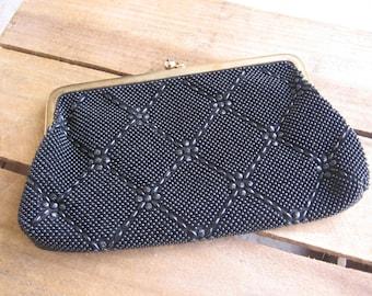 Vintage Black Clutch Purse, Formal Handbag, Faux Bead, Retro Black Purse, Wedding Bag, Small Purse, Snap Close