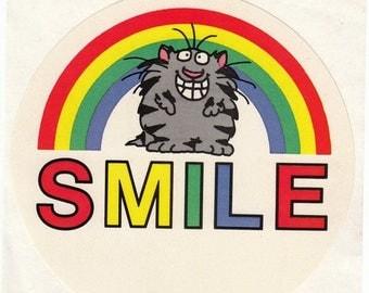 SALE Rare JUMBO Vintage Rpp Boynton Rainbow Kitten Sticker - Smile Happy Cat 80's Illustration Cartoon Comic