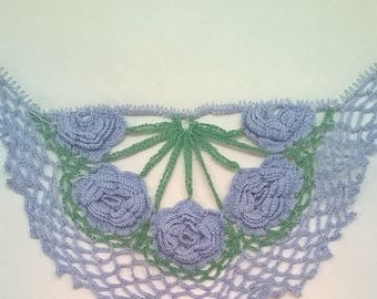 White Linen Hanky with Blue Crocheted Flowers and Border - Vintage Handkerchief Hankie - Something Blue for the Bride