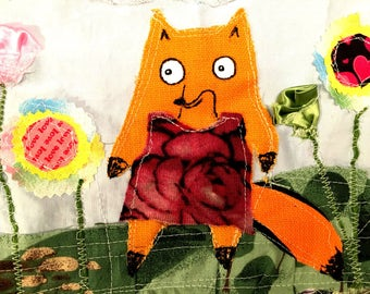 Fox and flowers . Textile fibre embroidered stitched wall art collage. Original applique and embroidery.