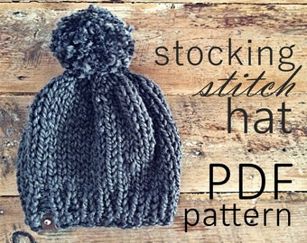 The Stocking Stitch Hat PDF Knitting Pattern (adult)