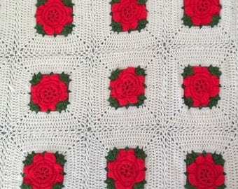 Vintage Granny Square 3D Roses Handmade Afghan Throw Blanket